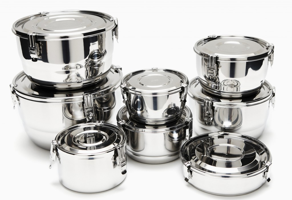 Airtight stainless steel food storage container set